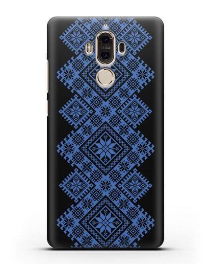Чехол с синим белорусским орнаментом и символами Богатство, Огонь, Молодость силикон черный для Huawei Mate 9