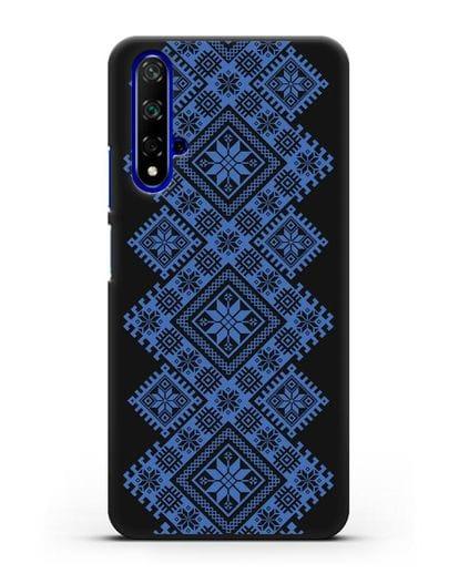 Чехол с синим белорусским орнаментом и символами Богатство, Огонь, Молодость силикон черный для Huawei Nova 5T