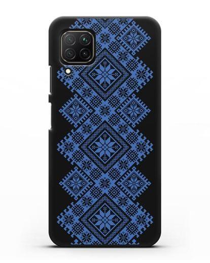 Чехол с синим белорусским орнаментом и символами Богатство, Огонь, Молодость силикон черный для Huawei Nova 7i