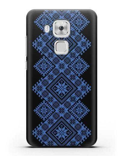 Чехол с синим белорусским орнаментом и символами Богатство, Огонь, Молодость силикон черный для Huawei Nova Plus