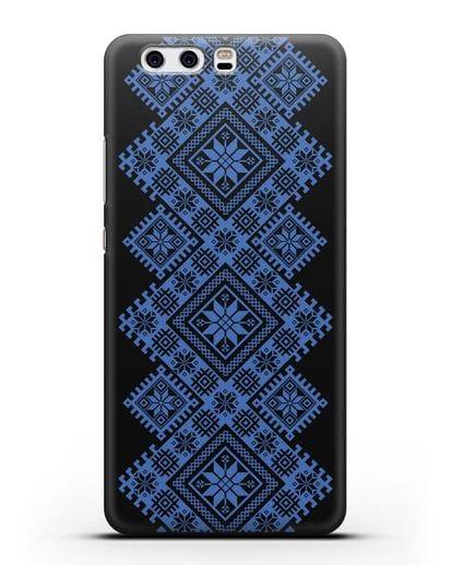 Чехол с синим белорусским орнаментом и символами Богатство, Огонь, Молодость силикон черный для Huawei P10