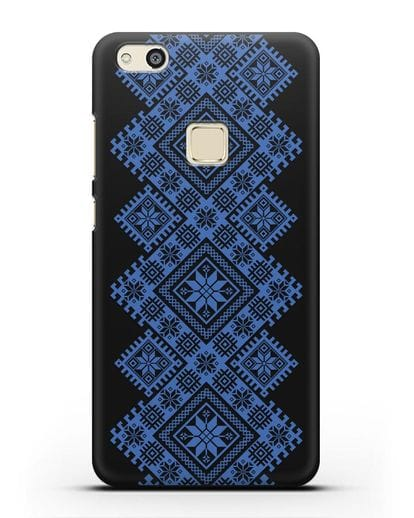 Чехол с синим белорусским орнаментом и символами Богатство, Огонь, Молодость силикон черный для Huawei P10 Lite