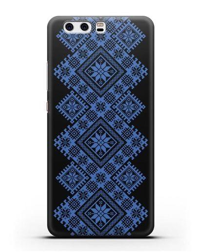 Чехол с синим белорусским орнаментом и символами Богатство, Огонь, Молодость силикон черный для Huawei P10 Plus