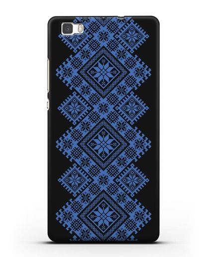 Чехол с синим белорусским орнаментом и символами Богатство, Огонь, Молодость силикон черный для Huawei P8 Lite