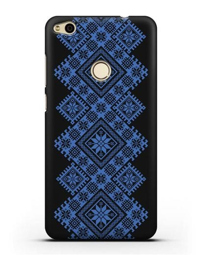 Чехол с синим белорусским орнаментом и символами Богатство, Огонь, Молодость силикон черный для Huawei P8 Lite 2017