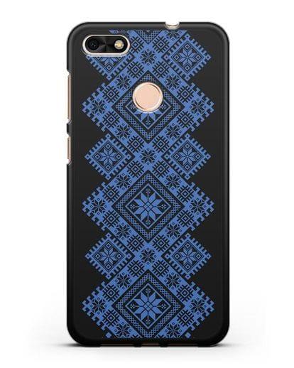 Чехол с синим белорусским орнаментом и символами Богатство, Огонь, Молодость силикон черный для Huawei P9 Lite mini