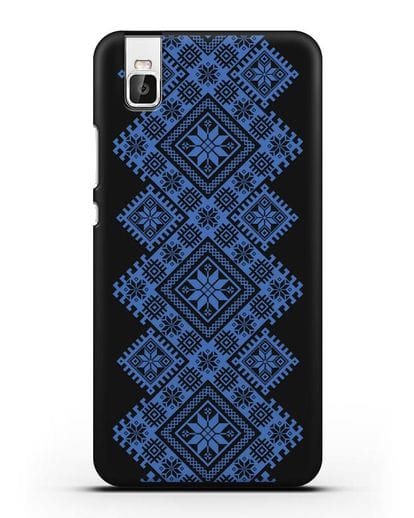 Чехол с синим белорусским орнаментом и символами Богатство, Огонь, Молодость силикон черный для Huawei Shot X