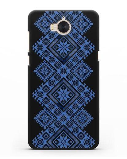 Чехол с синим белорусским орнаментом и символами Богатство, Огонь, Молодость силикон черный для Huawei Y5 2017