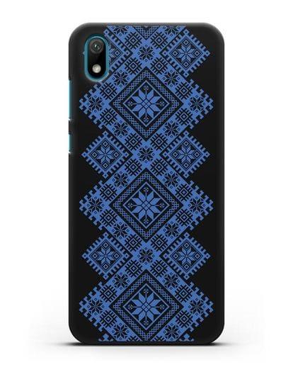 Чехол с синим белорусским орнаментом и символами Богатство, Огонь, Молодость силикон черный для Huawei Y5 2019