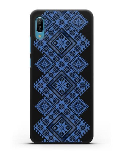 Чехол с синим белорусским орнаментом и символами Богатство, Огонь, Молодость силикон черный для Huawei Y6 2019