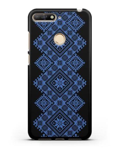 Чехол с синим белорусским орнаментом и символами Богатство, Огонь, Молодость силикон черный для Huawei Y6 Prime 2018