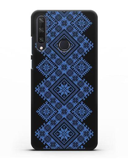Чехол с синим белорусским орнаментом и символами Богатство, Огонь, Молодость силикон черный для Huawei Y6P