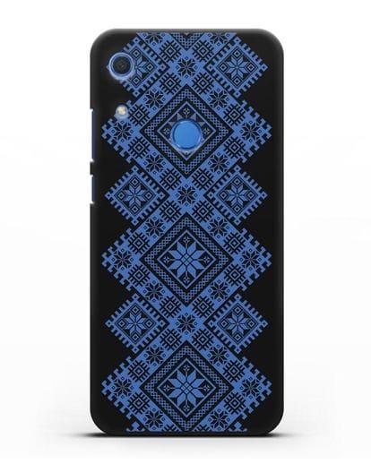 Чехол с синим белорусским орнаментом и символами Богатство, Огонь, Молодость силикон черный для Huawei Y6s