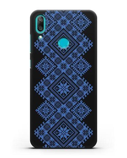 Чехол с синим белорусским орнаментом и символами Богатство, Огонь, Молодость силикон черный для Huawei Y7 2019