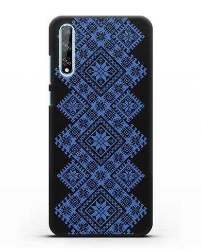Чехол с синим белорусским орнаментом и символами Богатство, Огонь, Молодость силикон черный для Huawei Y8P