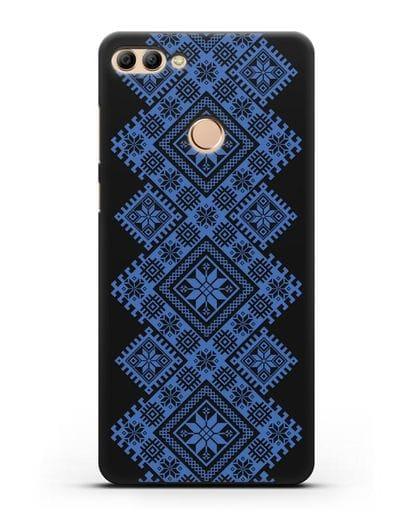 Чехол с синим белорусским орнаментом и символами Богатство, Огонь, Молодость силикон черный для Huawei Y9 2018