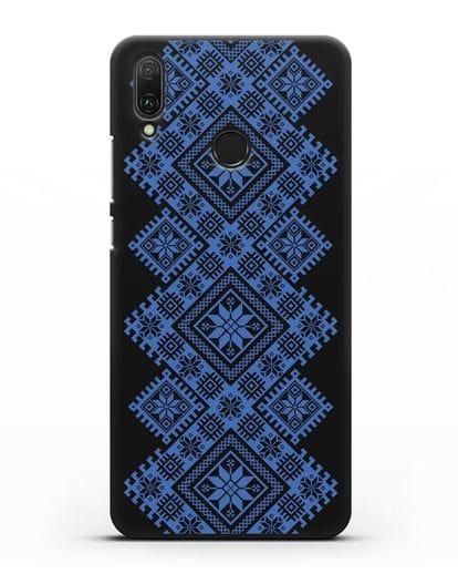 Чехол с синим белорусским орнаментом и символами Богатство, Огонь, Молодость силикон черный для Huawei Y9 2019