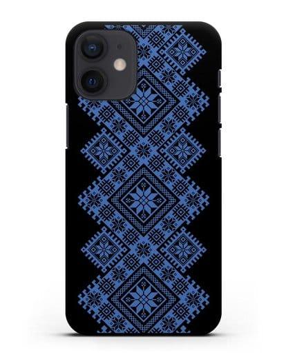 Чехол с синим белорусским орнаментом и символами Богатство, Огонь, Молодость силикон черный для iPhone 12 mini