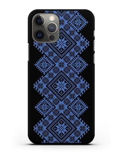 Чехол с синим белорусским орнаментом и символами Богатство, Огонь, Молодость силикон черный для iPhone 12 Pro