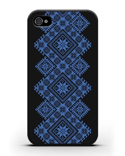 Чехол с синим белорусским орнаментом и символами Богатство, Огонь, Молодость силикон черный для iPhone 4/4s