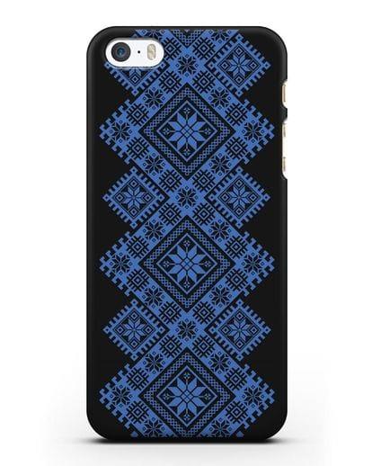 Чехол с синим белорусским орнаментом и символами Богатство, Огонь, Молодость силикон черный для iPhone 5/5s/SE