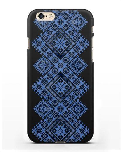 Чехол с синим белорусским орнаментом и символами Богатство, Огонь, Молодость силикон черный для iPhone 6s