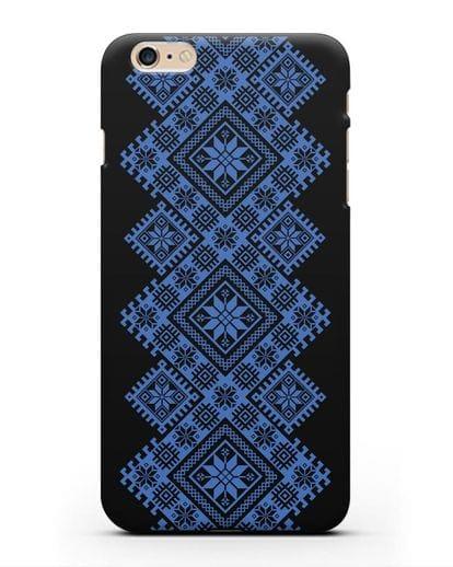 Чехол с синим белорусским орнаментом и символами Богатство, Огонь, Молодость силикон черный для iPhone 6 Plus