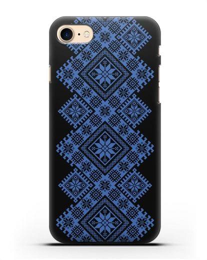 Чехол с синим белорусским орнаментом и символами Богатство, Огонь, Молодость силикон черный для iPhone SE 2020