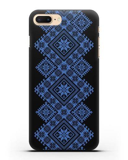 Чехол с синим белорусским орнаментом и символами Богатство, Огонь, Молодость силикон черный для iPhone 7 Plus