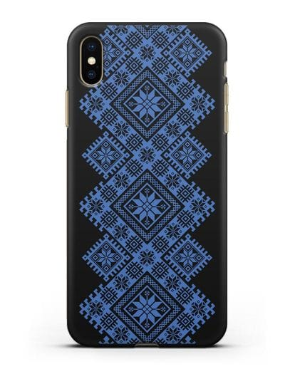 Чехол с синим белорусским орнаментом и символами Богатство, Огонь, Молодость силикон черный для iPhone XS Max