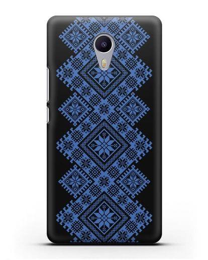 Чехол с синим белорусским орнаментом и символами Богатство, Огонь, Молодость силикон черный для MEIZU M3 Note