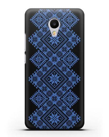 Чехол с синим белорусским орнаментом и символами Богатство, Огонь, Молодость силикон черный для MEIZU M3s mini