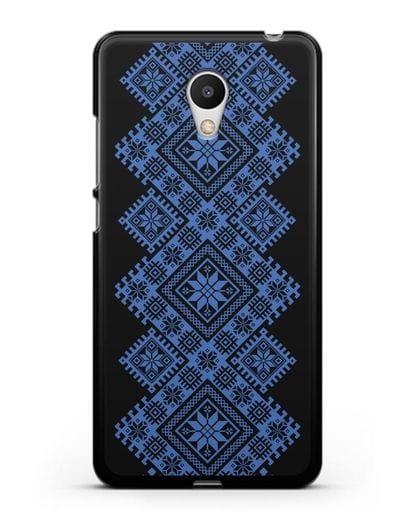 Чехол с синим белорусским орнаментом и символами Богатство, Огонь, Молодость силикон черный для MEIZU M6