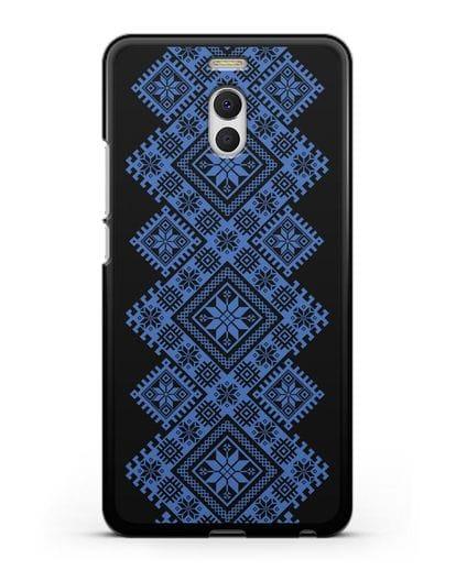 Чехол с синим белорусским орнаментом и символами Богатство, Огонь, Молодость силикон черный для MEIZU M6 Note