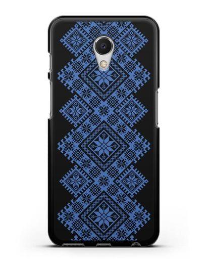 Чехол с синим белорусским орнаментом и символами Богатство, Огонь, Молодость силикон черный для MEIZU M6s