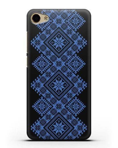 Чехол с синим белорусским орнаментом и символами Богатство, Огонь, Молодость силикон черный для MEIZU U10