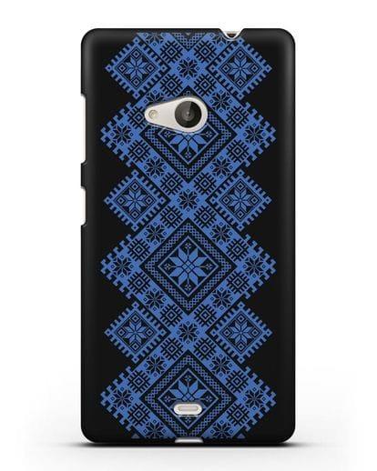 Чехол с синим белорусским орнаментом и символами Богатство, Огонь, Молодость силикон черный для Microsoft Lumia 535
