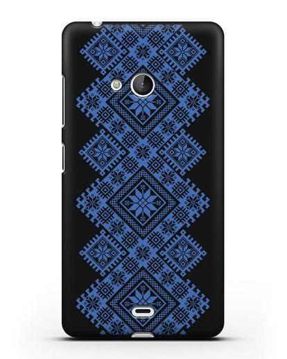 Чехол с синим белорусским орнаментом и символами Богатство, Огонь, Молодость силикон черный для Microsoft Lumia 540