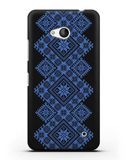 Чехол с синим белорусским орнаментом и символами Богатство, Огонь, Молодость силикон черный для Microsoft Lumia 640
