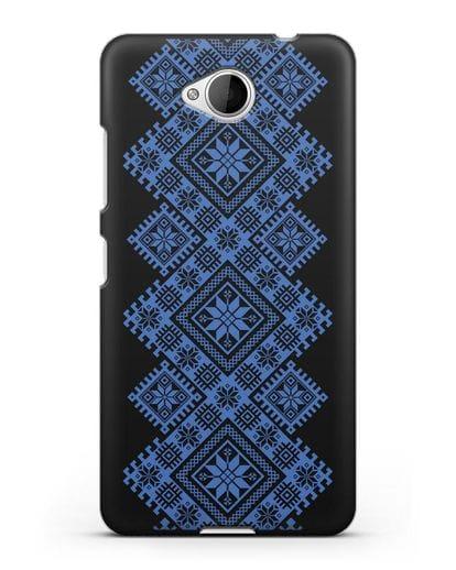 Чехол с синим белорусским орнаментом и символами Богатство, Огонь, Молодость силикон черный для Microsoft Lumia 650