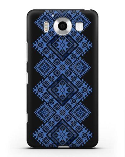 Чехол с синим белорусским орнаментом и символами Богатство, Огонь, Молодость силикон черный для Microsoft Lumia 950