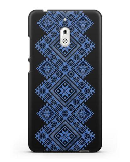 Чехол с синим белорусским орнаментом и символами Богатство, Огонь, Молодость силикон черный для Nokia 2.1