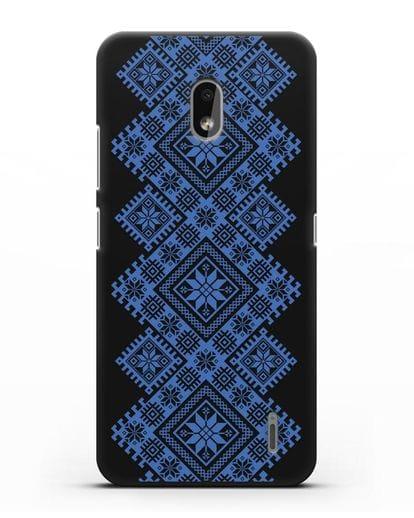 Чехол с синим белорусским орнаментом и символами Богатство, Огонь, Молодость силикон черный для Nokia 2.2 2019