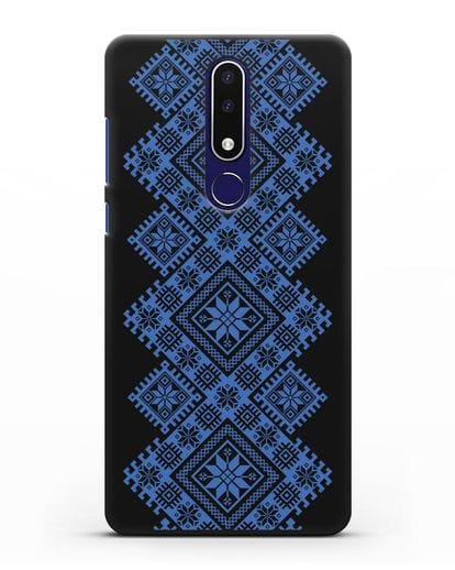 Чехол с синим белорусским орнаментом и символами Богатство, Огонь, Молодость силикон черный для Nokia 3.1 plus