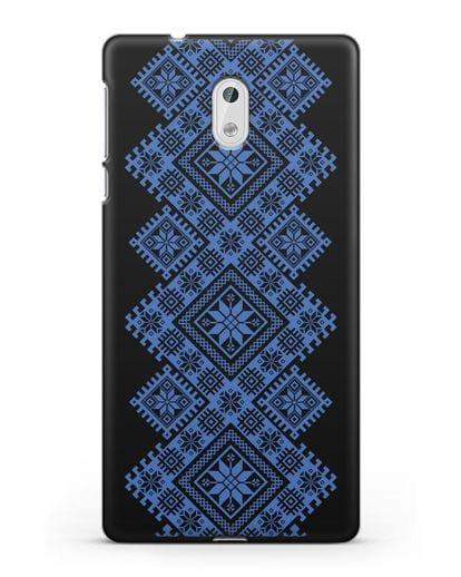 Чехол с синим белорусским орнаментом и символами Богатство, Огонь, Молодость силикон черный для Nokia 3