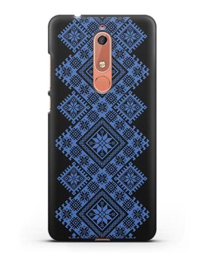 Чехол с синим белорусским орнаментом и символами Богатство, Огонь, Молодость силикон черный для Nokia 5.1