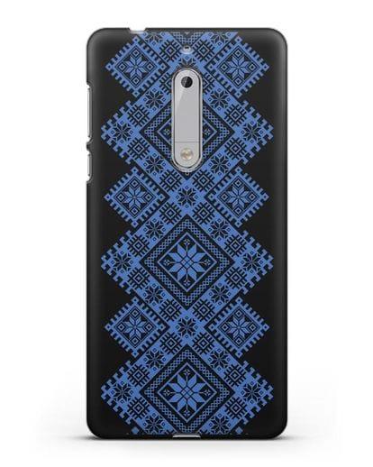 Чехол с синим белорусским орнаментом и символами Богатство, Огонь, Молодость силикон черный для Nokia 5