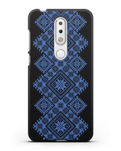 Чехол с синим белорусским орнаментом и символами Богатство, Огонь, Молодость силикон черный для Nokia 6.1 plus