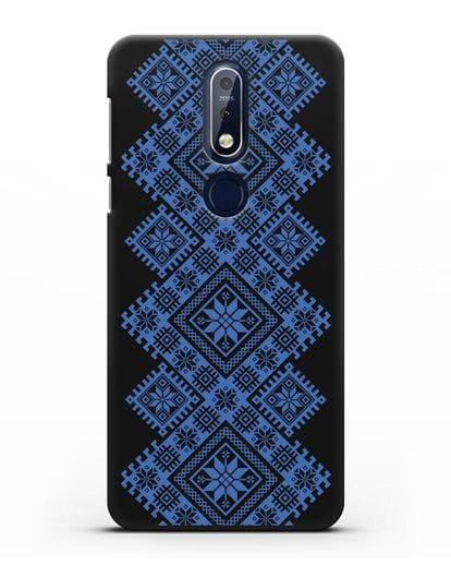 Чехол с синим белорусским орнаментом и символами Богатство, Огонь, Молодость силикон черный для Nokia 7.1