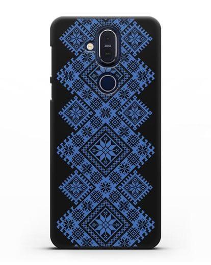 Чехол с синим белорусским орнаментом и символами Богатство, Огонь, Молодость силикон черный для Nokia 7.1 plus
